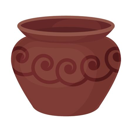 Wide clay pot. Vector illustration on a white background.