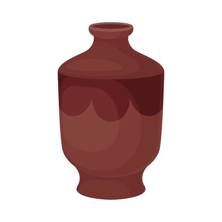 Clay thick jug. Vector illustration on a white background.