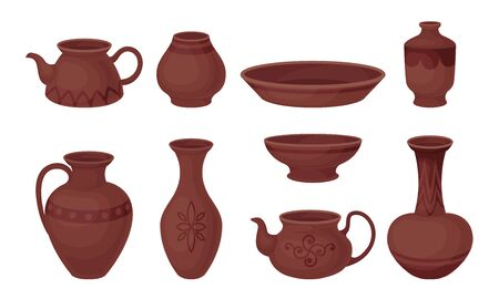 Set of pottery. Vector illustration on a white background.