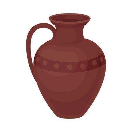 Clay jug with one handle. Vector illustration on a white background. Ilustração