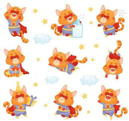 Set of cartoon cat superhero. Vector illustration on a white background. Ilustração