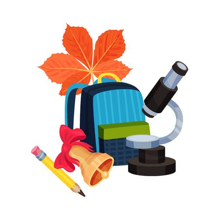 School composition from a backpack, a microscope and stationery. Vector illustration on a white background.