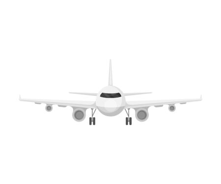 Passenger white plane. Vector illustration on a white background.