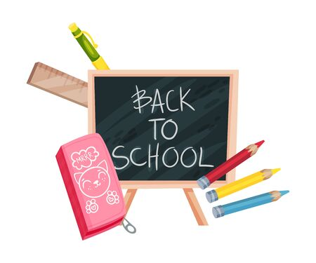 Blackboard with the words Back to school and stationery. Vector illustration on a white background.