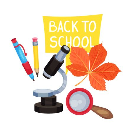 School composition from a microscope, a magnifying glass and the inscription Back to school. Vector illustration on a white background.