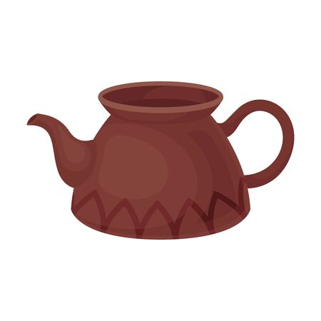 Clay teapot without a lid. Vector illustration on a white background.