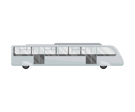 Long white bus. Vector illustration on a white background. Иллюстрация
