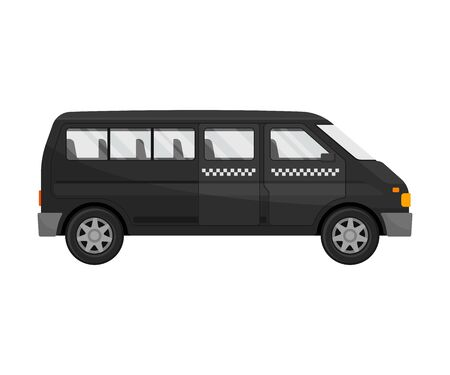 Black minibus. Vector illustration on a white background.