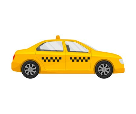 Yellow taxi. Vector illustration on a white background. Иллюстрация