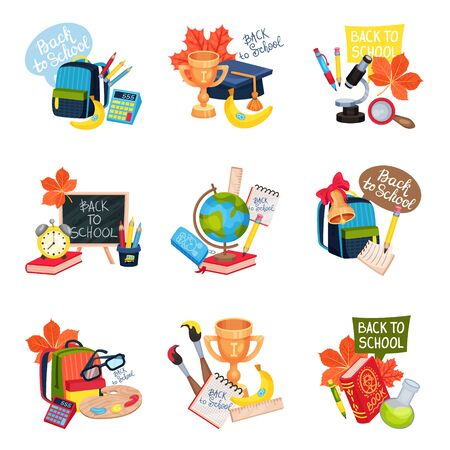 Set of school-themed compositions. Vector illustration on a white background. Çizim