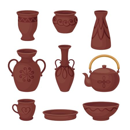 Set of brown clay dishes. Vector illustration on a white background.  イラスト・ベクター素材