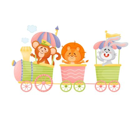 Monkey, lion and hare ride in a train and carriage. Vector illustration on a white background. Stock Illustratie