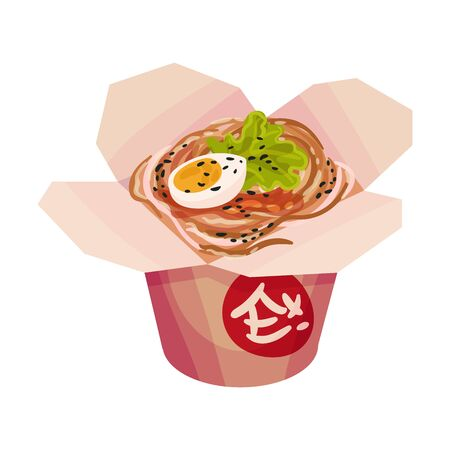 Nudeln mit gekochtem Ei. Vektorillustration auf weißem Hintergrund. Vektorgrafik