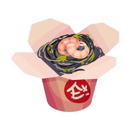 Black noodles with shrimp. Vector illustration on a white background. Illustration