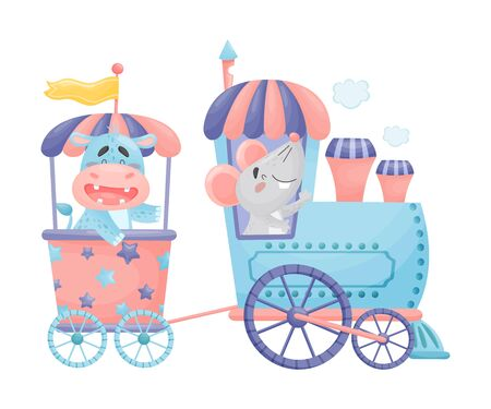 Mouse and a hippo ride in blue with a pink train. Vector illustration on a white background. Stock Illustratie