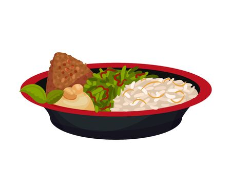 Rice with meat and herbs. Vector illustration on a white background.
