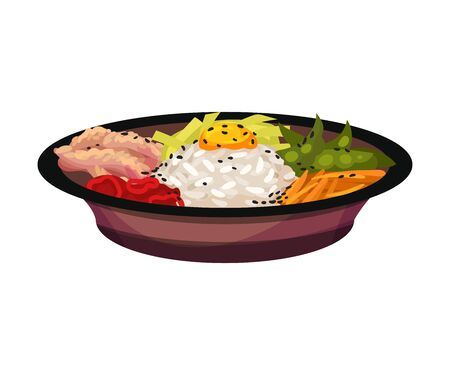 Rice with vegetables and egg. Vector illustration on a white background.