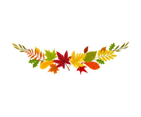 Composition of autumn leaves. Vector illustration on a white background. Stock Illustratie