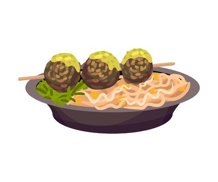 Noodles with meatballs on a skewer. Vector illustration on a white background.
