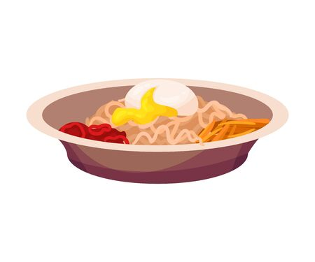 Noodles with poached egg. Vector illustration on a white background. Stock Illustratie