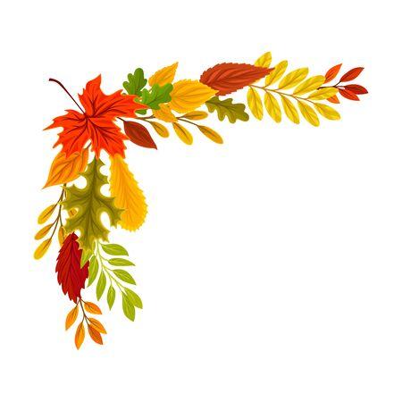 Upper left right corner of the autumn leaves. Vector illustration on a white background.
