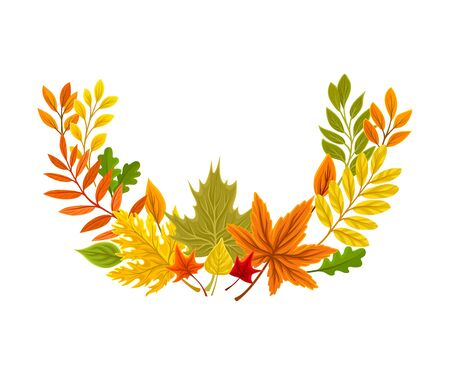 Semicircular autumn composition. Vector illustration on a white background.