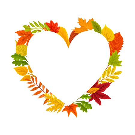 Heart shaped autumn frame. Vector illustration on a white background.