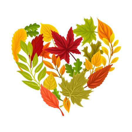 Heart shaped autumn composition. Vector illustration on a white background.