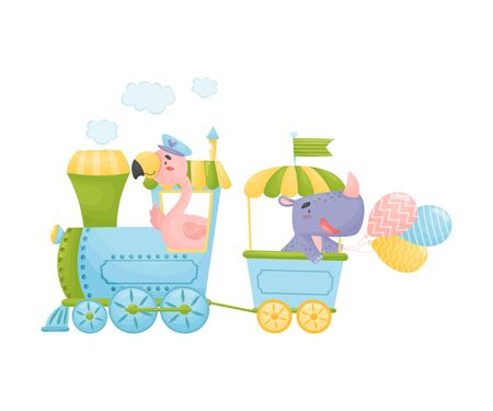 Pink flamingos and rhino ride in blue with a yellow train. Vector illustration on a white background. 向量圖像