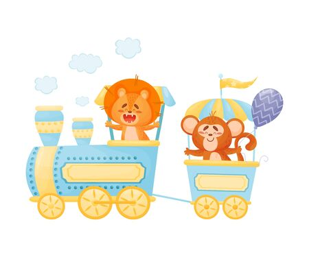 Lion and a monkey ride on a train. Vector illustration on a white background.