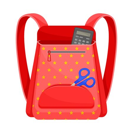 Red school backpack with a pattern of stars. Calculator and scissors stick out exhaustively. Vector illustration on a white background.