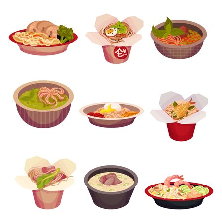 Set of asian food. Vector illustration on a white background.