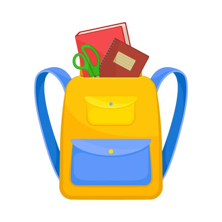 Yellow school backpack with a blue pocket on the button. Inside a book, notebook and scissors. Vector illustration on a white background. Иллюстрация