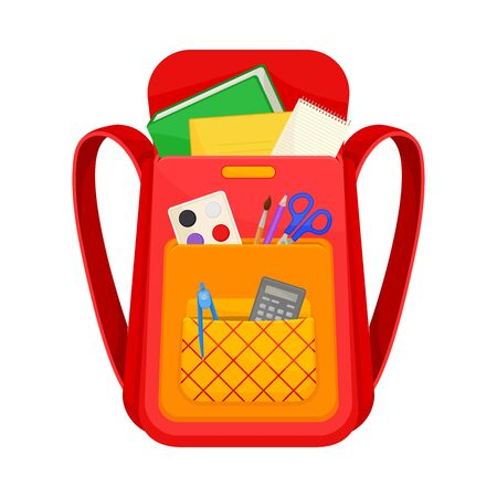 Red and orange school backpack. Inside a book, paints, notebook, pen, pencil, calculator, compass. Vector illustration on a white background.
