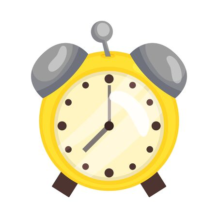 Classic alarm clock. Vector illustration on a white background.