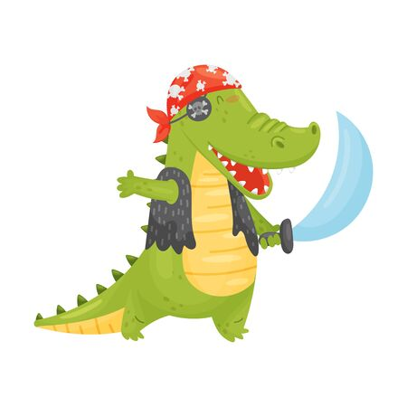 Cute green humanized crocodile in a pirate costume. Red bandana, black vest, eye patch and saber. Vector illustration on a white background. 일러스트