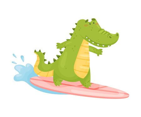 Cute green humanized crocodile surfer. Vector illustration on a white background.