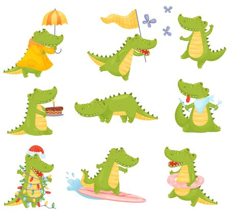 Set of cute humanized crocodiles eats, catches a butterfly, with a cake, under an umbrella, with a garland, on a surf. Vector illustration on a white background.