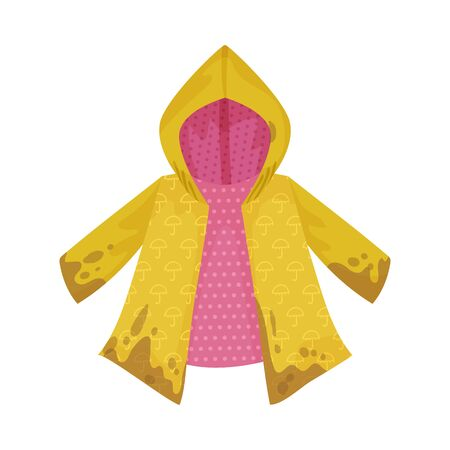 Dirty childrens raincoat. Vector illustration on a white background. Иллюстрация