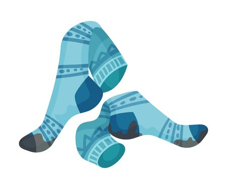 Pair of blue dirty socks. Vector illustration on a white background.