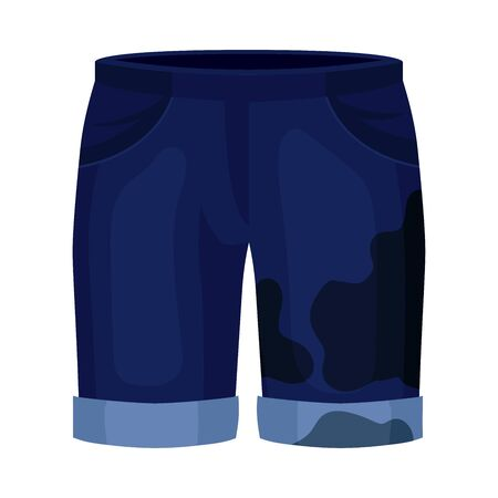 Dirty blue shorts. Vector illustration on a white background. Иллюстрация