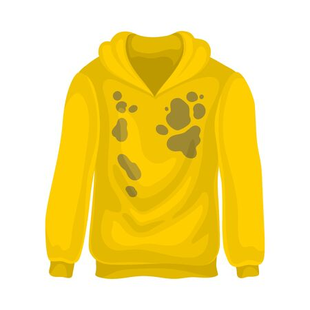 Dirty yellow sweatshirt. Vector illustration on a white background.
