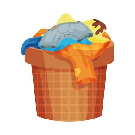 Brown basket with dirty linen. Vector illustration on a white background.