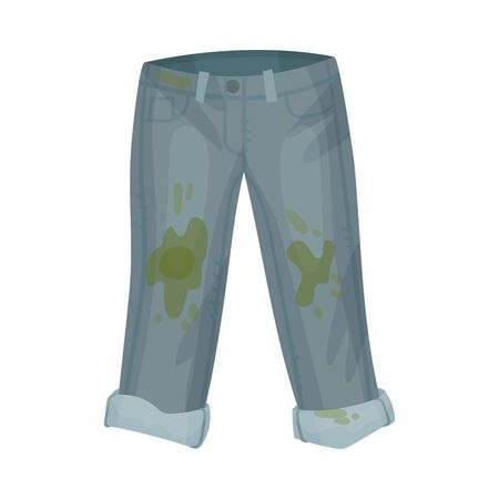 Dirty gray jeans. Vector illustration on a white background.