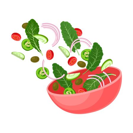 Pink bowl with slices of cucumber, zucchini, tomato, olive, green leaf. Vector illustration on a white background.