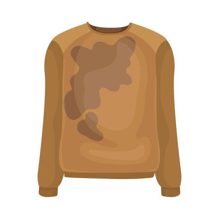 Dirty beige sweater. Vector illustration on a white background.