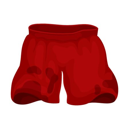 Red dirty shorts. Vector illustration on a white background.