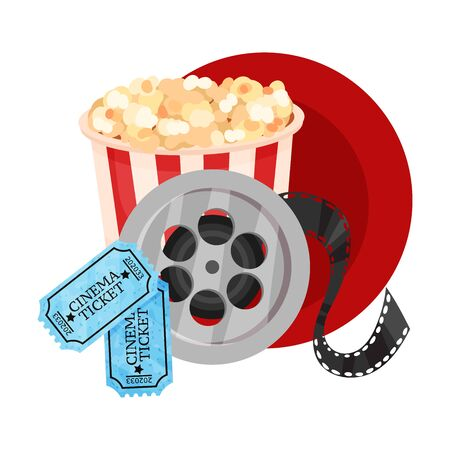 Popcorn in a striped paper bucket, a film roll and tickets in a dark red circle. Vector illustration on a white background.