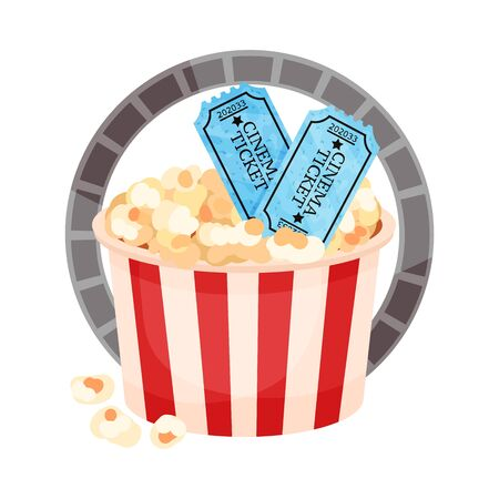 More paper bucket with popcorn and tickets. Vector illustration on a white background.
