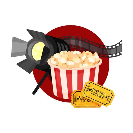 Spotlight, film strip, popcorn and tickets in a red circle. Vector illustration on a white background. Ilustração